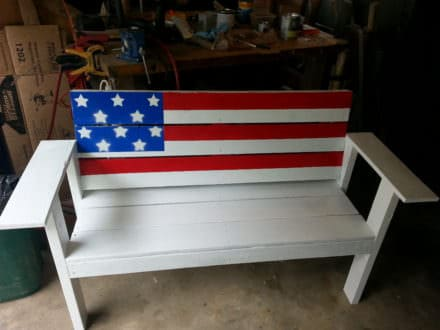 Patriotic Flag Pallet Bench