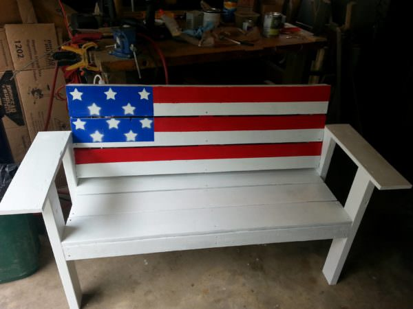Patriotic Flag Pallet Bench Pallet Benches, Pallet Chairs & Stools