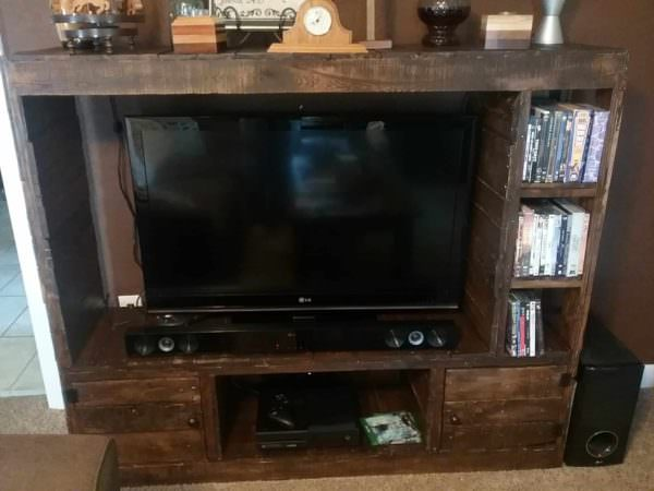 Rustic Pallet Wood Entertainment Center