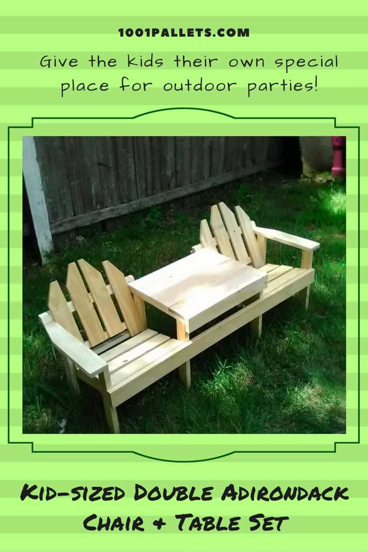 Diy comfortable pallet adirondack chair 101 pallets - Kids Pallet Adirondack Chairs Table Set