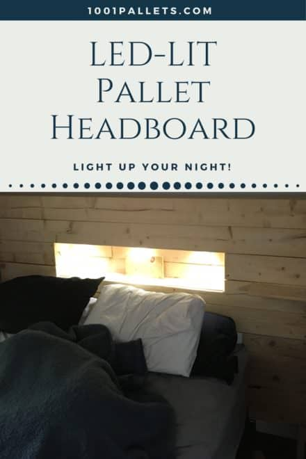 Led-lit Pallet Wood Headboard