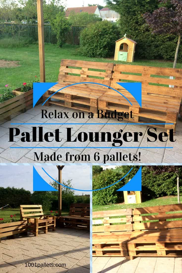 My Relaxing Pallet Lounge Corner Set / Mon Petit Coin Détente : sectional made out of pallets - Sectionals, Sofas & Couches