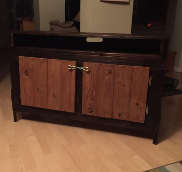 Pallet Wood Entertainment Unit is finished in a Shoshoban-style wood burned technique to preserve and beautify.