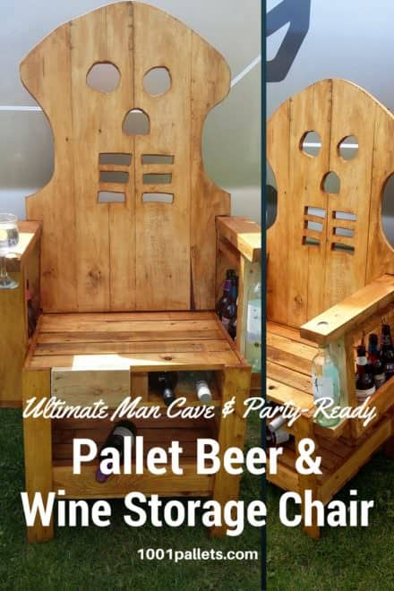 Skull Pattern Pallet Party Bar Chair