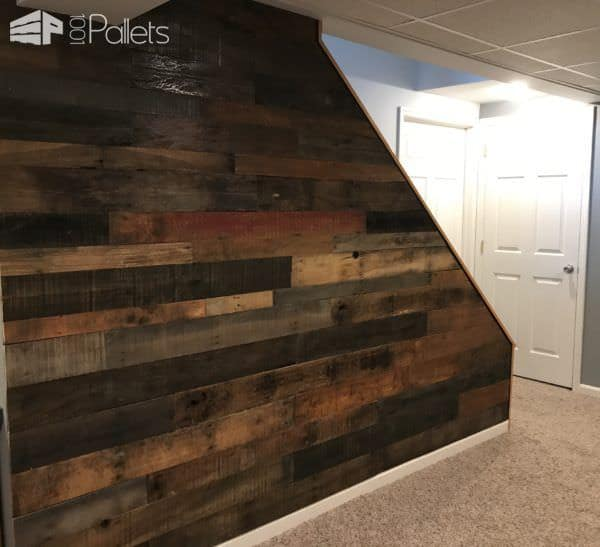 Staircase Pallet Accent Wall Adds Warmth To Room Pallet Walls & Pallet Doors