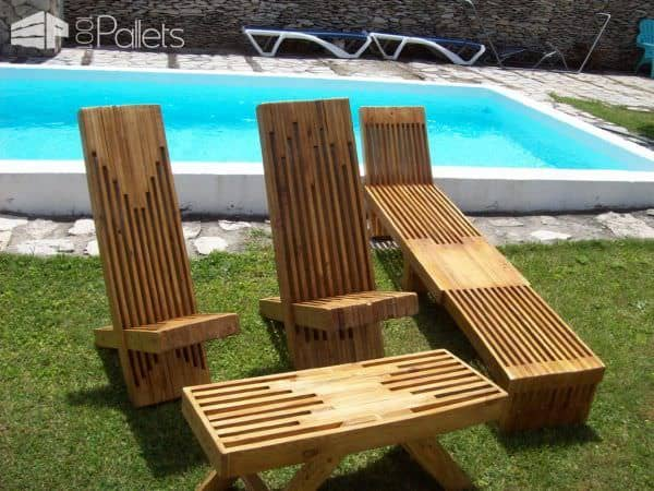 Pallet Projects June #4 is a stacked pallet wood lounger set.