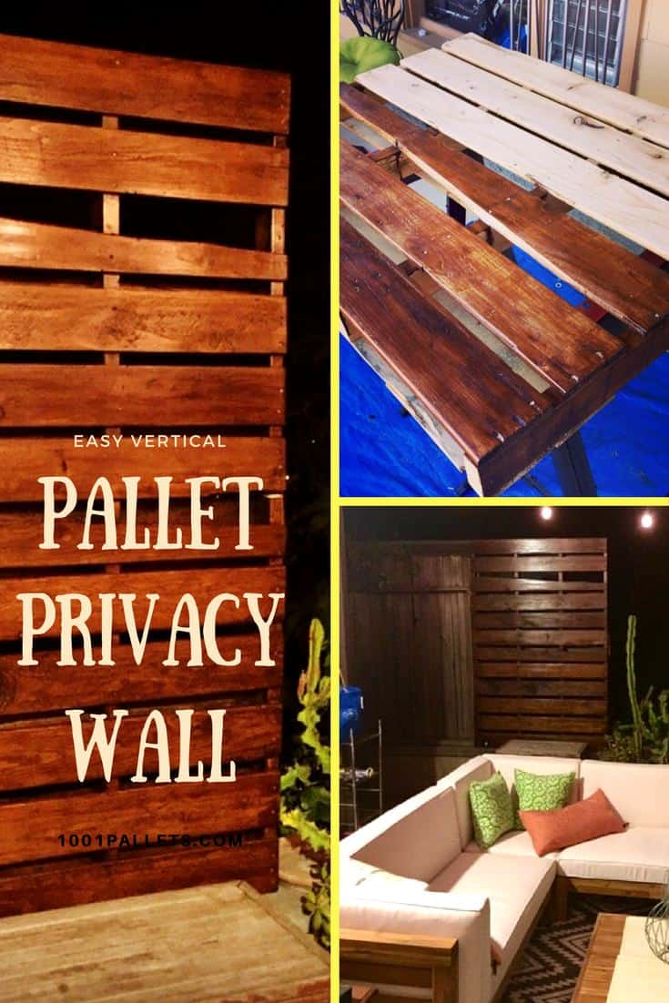 Vertical pallet privacy wall for our garden 1001 pallets for Wood pallet privacy walls