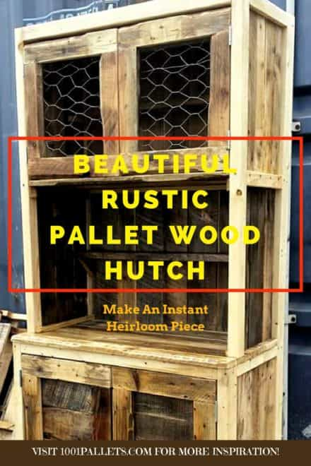 Wire-door Rustic Pallet Hutch