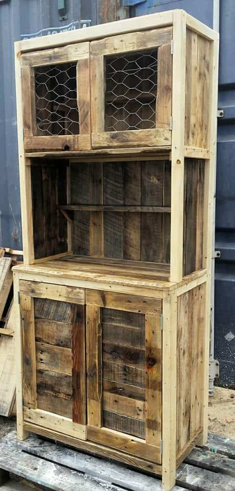 This Rustic Pallet Hutch lets the different tones of the wood shine through by only gently sanding until somewhat smooth.