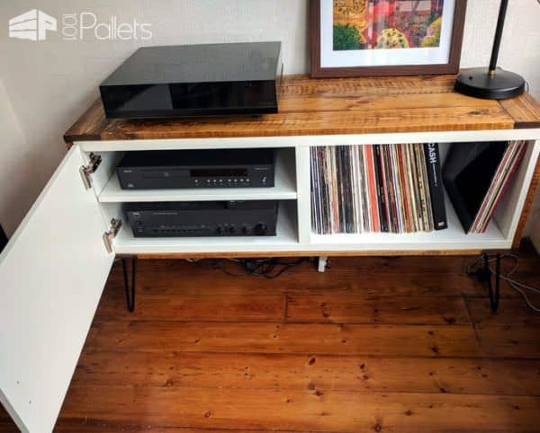We added a shelf to our Retro Pallet Cabinet for our audio equipment.
