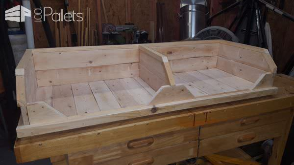 Install the trim and detail pieces, then smooth over the sides of this Pallet Two-Dog Bed.