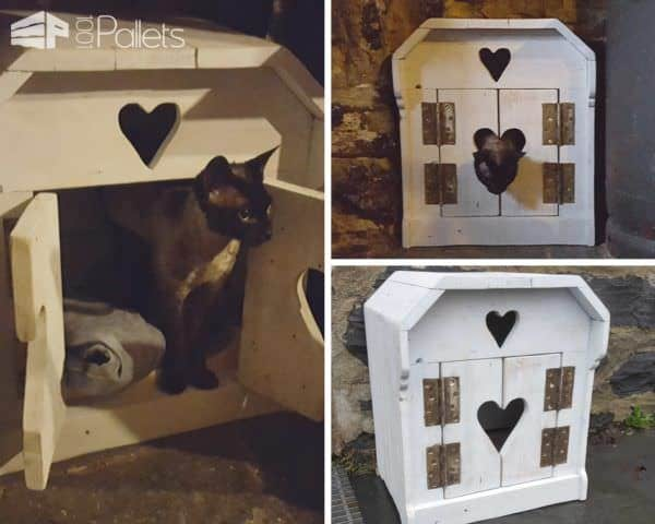 This little Cat House has two carved hearts and a snuggly space to keep your kitty warm. One of our most adorable Cat Pallet Projects.