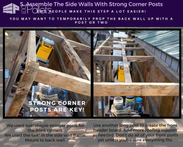 "Use sturdy 4x4"" posts on the corners of your Stall Tool Shed"
