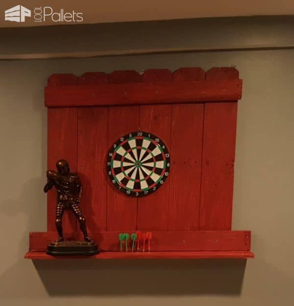 I added a shelf to my Pallet Dartboard Surround so I could easily store the darts.