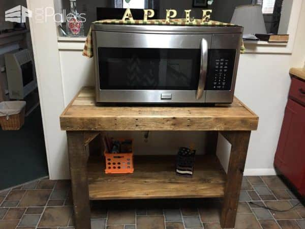 Pallet Microwave Stand Supports Large Appliances Pallet Desks & Pallet Tables