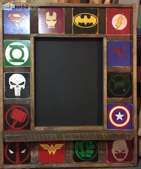 A School Days Pallet Project like this superhero-themed chalkboard is a great way to get the kids excited about back-to-school.