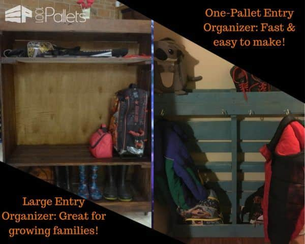Two projects for School Days Pallet Project inspiration: a large entryway organizer and a single-pallet organizer too!