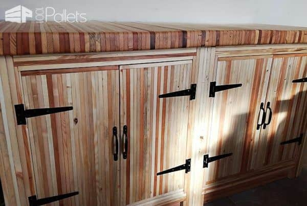 This amazing Pallet Wood Kitchen features thousands of deck boards glued to feature the end-train for both the counter and the cabinets.