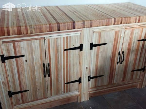 Use damaged or broken deck boards in an interesting way, such as this Pallet Wood Kitchen does.