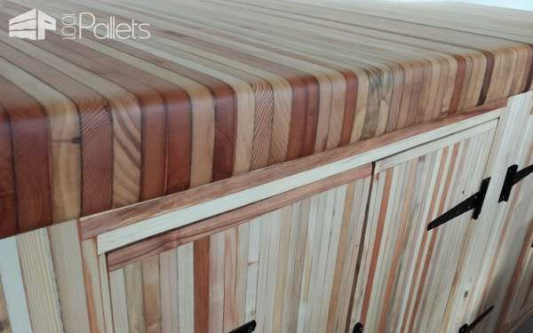 Attention to detail can turn broken pallet boards into a remarkable piece of craftsmanship on this Pallet Wood Kitchen. The edges of this counter top are routed over for a smooth and comfortable feel.