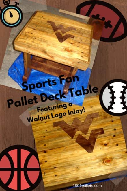 Walnut-inlay Sports Fan Pallet Deck Table