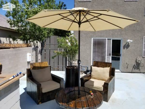Pallet Patio Lounge includes two pallet wood chairs and a wire spool table.