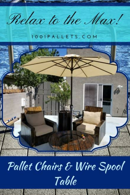 Wire Spool Pallet Patio Lounge Set