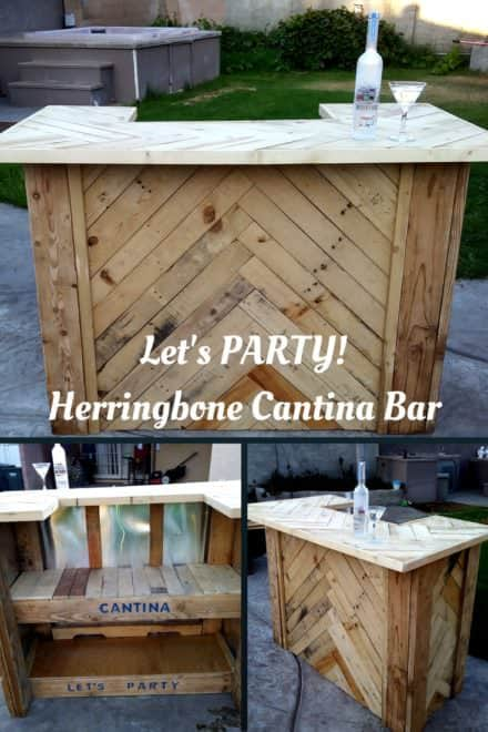 Amazing Herringbone Pallet Party Bar