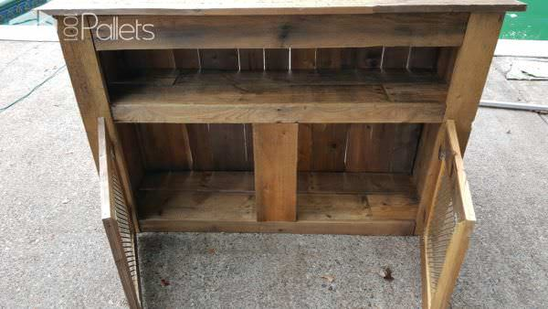 My Metal Pallet TV Stand features an open shelf and two cabinet spaces for more storage.