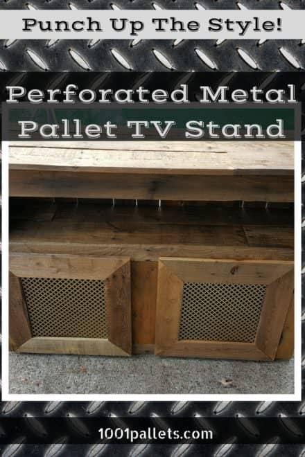 Cross-hole Perforated Metal Pallet TV Stand