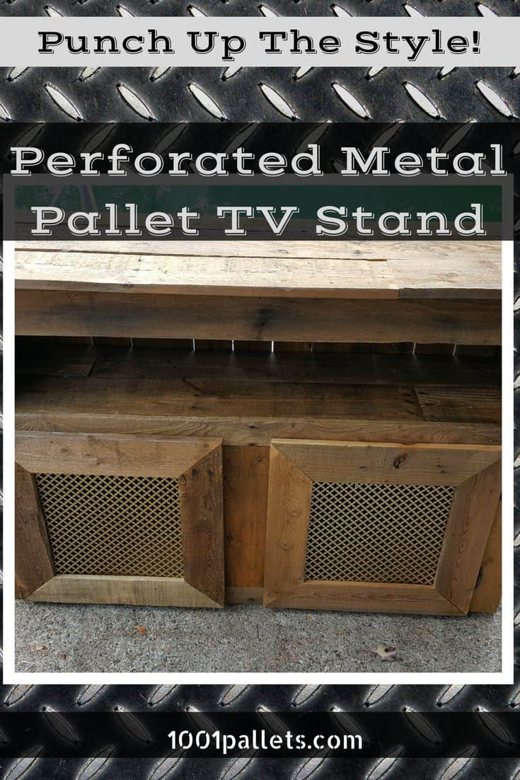 Cross Hole Perforated Metal Pallet Tv Stand 1001 Pallets