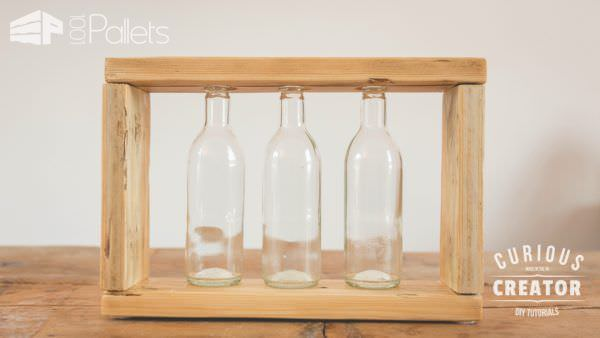 Make this simple Pallet Glass Vase Stand as a brilliant gift idea.