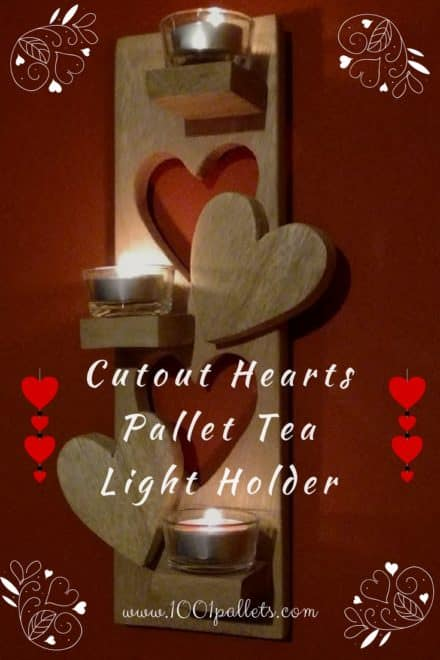 Heart Cut-out Pallet Tea Light Holder
