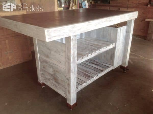 The cantilevered counter provides eating area around this Rolling Pallet Kitchen Island.