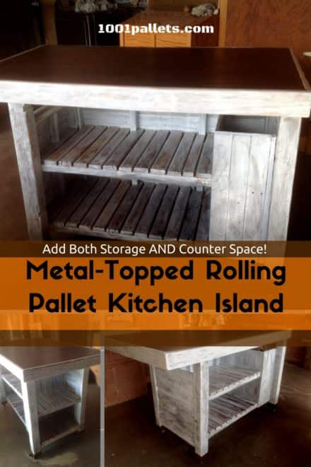 Metal-topped Rolling Pallet Kitchen Island