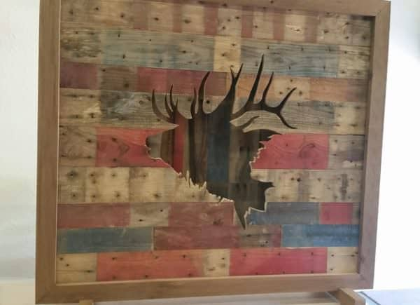 Alter the directions of boards on the front and back walls of this shadowbox and it will add some visual appeal to this Elk Wall Art day or night!