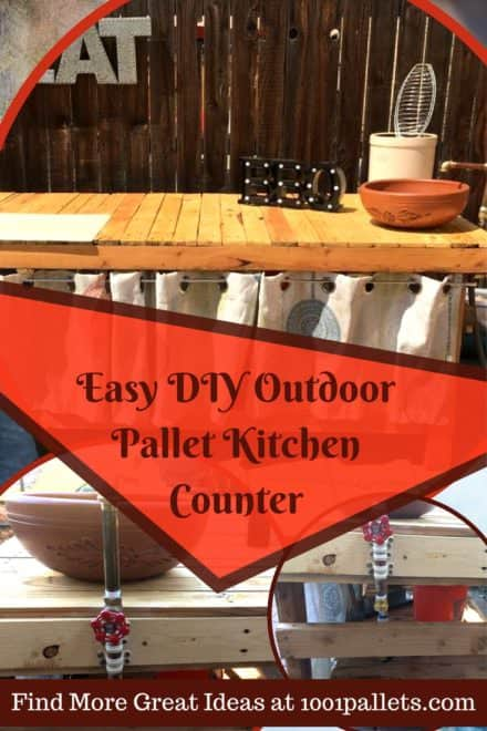Outdoor Pallet Kitchen Counter Adds Prep Space