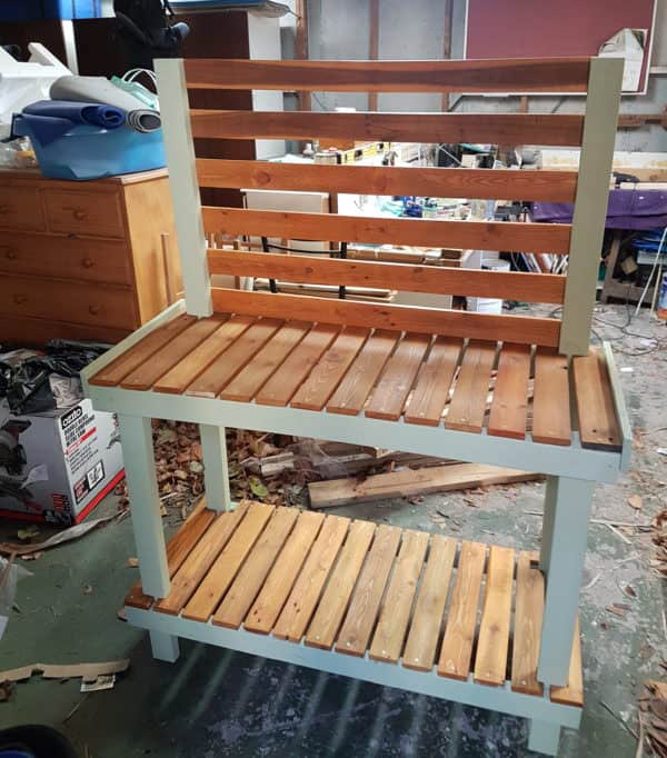 Another view of the two-shelved Painted Pallet Potting Bench.