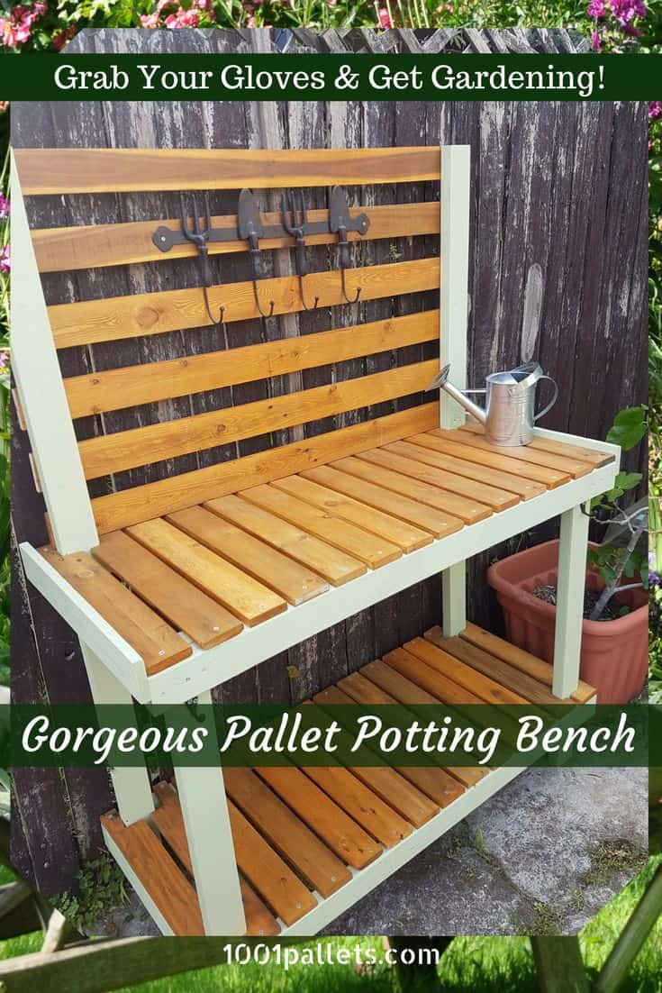 painted pallet potting bench for gardening chores