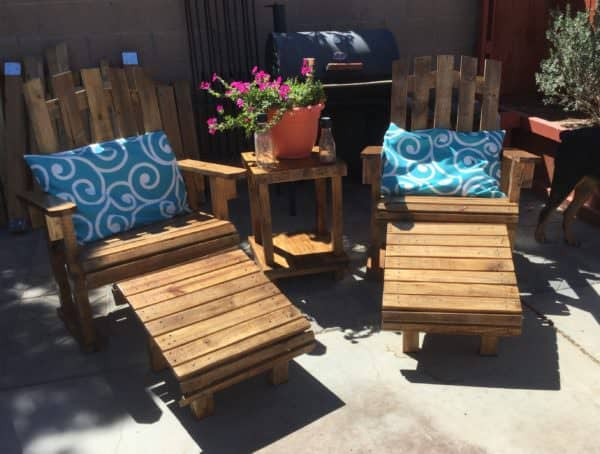 Another view of the Adirondack Chairs Patio Set in the sunshine.