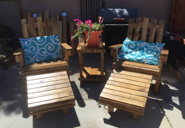 Adjusting the Adirondack Chairs Patio Set to show the ottoman.