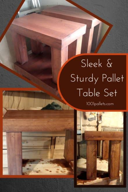 Pallet Table Set: Beautiful Coffee/End Table Trio!
