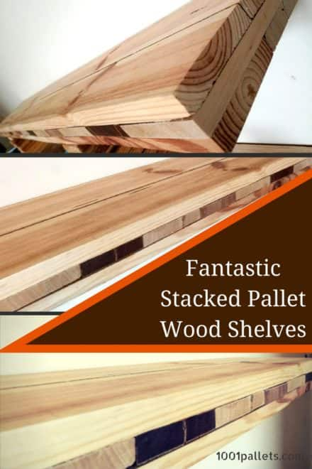 Pallet Wood Stacked Shelves
