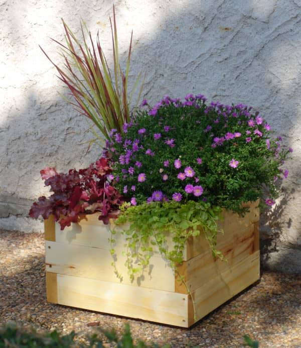 Petite Pallet Planter could be placed on a balcony, terrace, or even on your front porch.