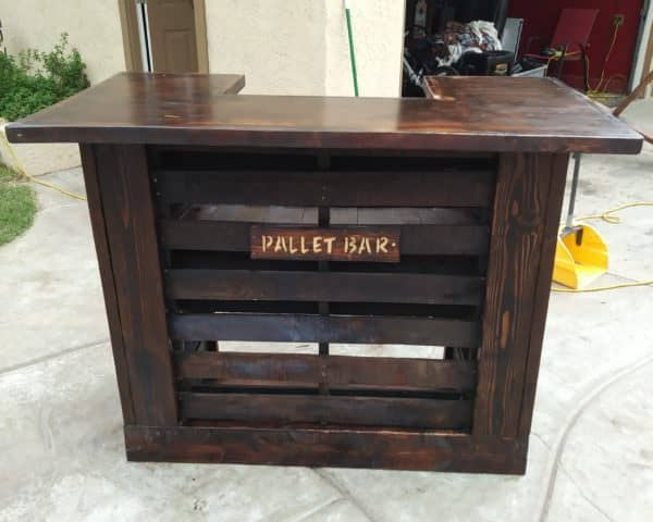 My Torched Pallet Bar isnt the only one Ive built. Here is another bar that I built from pallets but stained a rich walnut color.