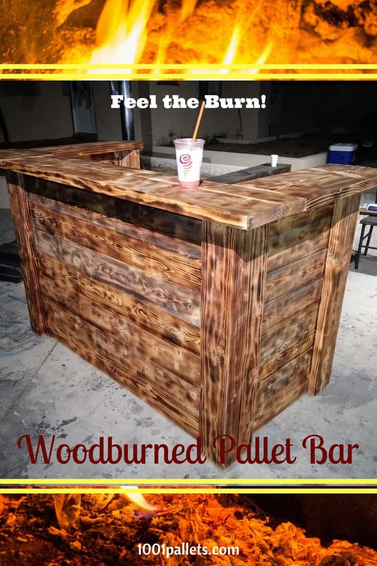 Pallet bar hundreds of bar ideas made out of pallets 1001 pallets torched pallet bar wont burn your budget geotapseo Choice Image
