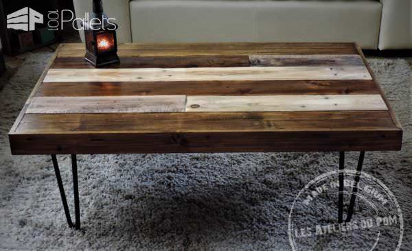 Two-tone Pallet Coffee Table With Hairpin Feet Pallet Coffee Tables