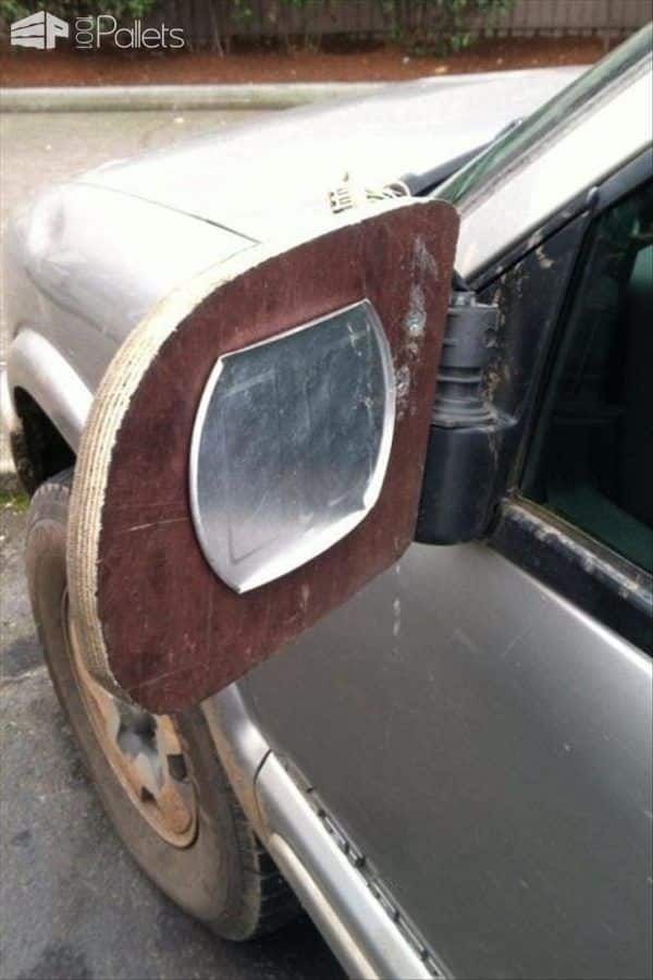 Use of a scrap of wood and a metal lid becomes a Weird Wood side mirror for your car!
