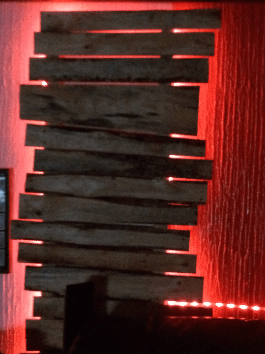 Wild and red - some of our Pallet Wood Walls include LED backlighting.