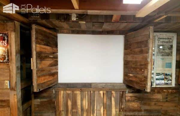 Pallet Wood Walls can be used to hide A/V equipment.